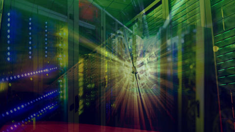Rotating light cube on a server network room background Animation