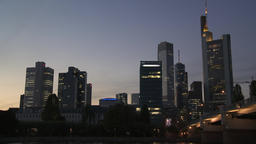 Financial District Skyscrapers at Dusk Footage