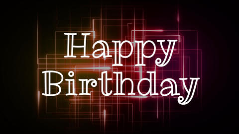Happy Birthday quote Neon Light Alphabet Vector Font. Neon tube letters on dark glow Animation