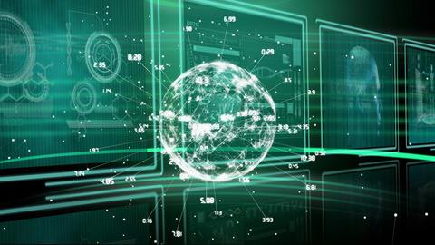 Digitally generated animation of a rotating globe Animation
