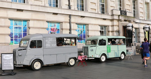Two Citroen H Food Truck Footage