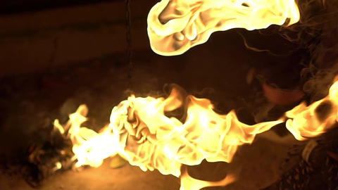 Flaming Poi Torch Fly On Black Background. Fire Show Performance At Night Footage