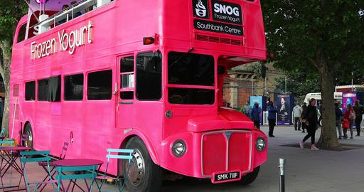 Vintage Double Decker Red Bus Food Truck In London Footage