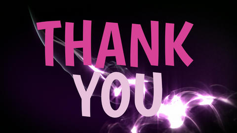 Pink thank you text animation with black background Animation