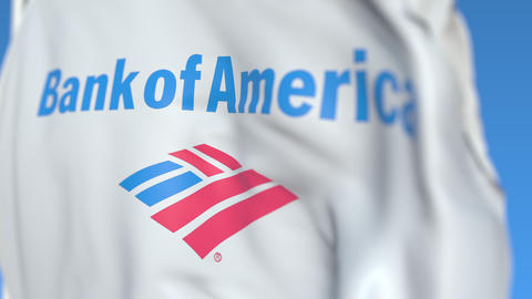 Waving flag with Bank of America logo, close-up. Editorial loopable 3D animation Footage