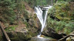 Szklarka Waterfall. The Karkonoski National Park. Poland Live Action