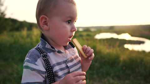 Little boy eating cookies on nature in sunny summer evening in slow motion Footage