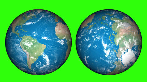 24 hour or 1 day of World, Planet earth on green screen. Rotating world and shadow is changing day Animation