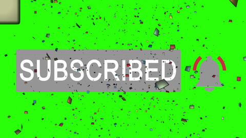 Subscribe button, mouse clicking and confetti. Congrats for notification on green background, alpha Animation