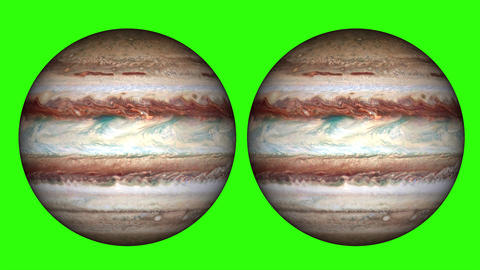 Jupiter planet's solar day. The giant gas planet rotating and phase of Jupiter on green screen Animation