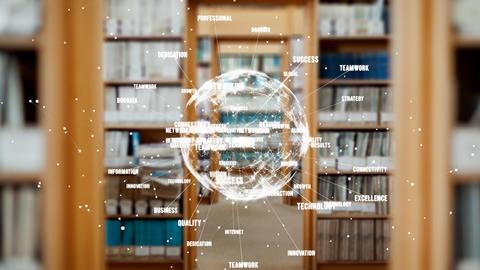 Animation of turning globe against library background Animation