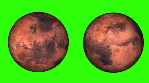 Solar day of Mars - SOL. Rotating the red planet, phases of Mars, isolated, on green screen Animation