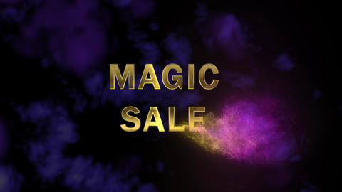 Magical sparkling particles. Appearing golden letters 'Magic Sale' Live Action
