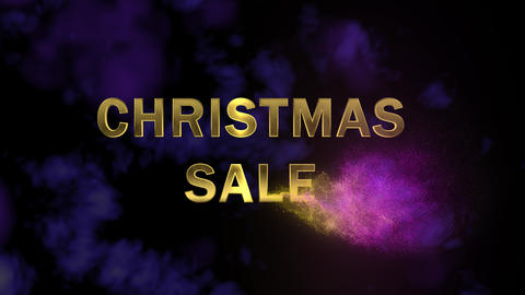 Golden letters 'Christmas Sale' and magical glittering particles Footage