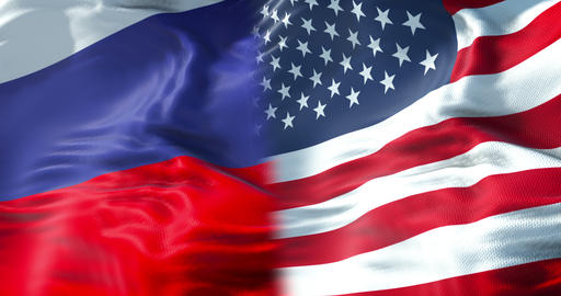 half flags of united states of america and half russa flag, wind waving movement,crisis between usa Footage