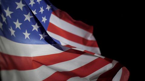 USA flag waving on black background Footage