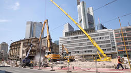 Demolition Site Panorama in Sunny Downtown Frankfurt Live Action