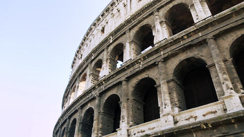 Close-up Italian attraction in Rome. Ancient amphitheater in capital of Italy Footage
