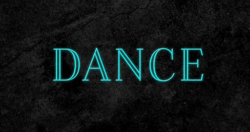 Animation of dance text sparking in blue 4k Animation