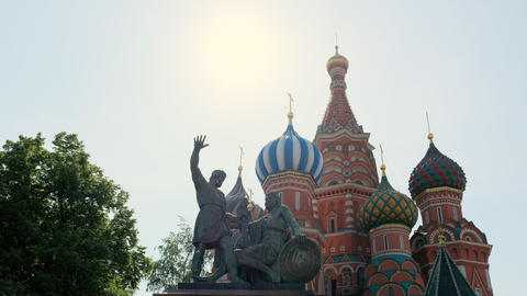 Saint Basil's Cathedral church, decor of facades colored domes old architecture Footage