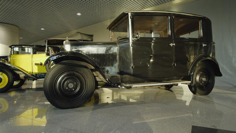 Exhibition of retro cars. Collection of vintage cars and trucks. The first Live Action