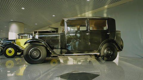 Exhibition of retro cars. Collection of vintage cars and trucks. The first Footage