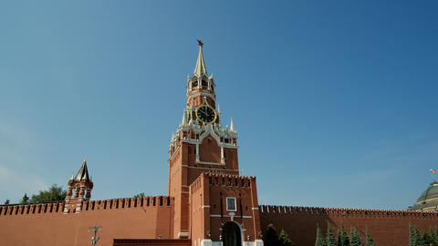 Kremlin wall and government building on Red Square in Moscow. Red Square in Live Action