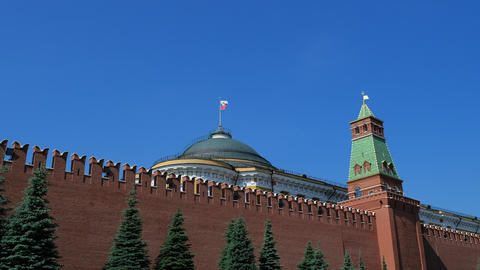 Kremlin wall and government building on Red Square in Moscow. The symbol of the Footage