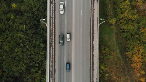 Road in the forest top view close-up. City traffic on the bridge, aerial footage ライブ動画