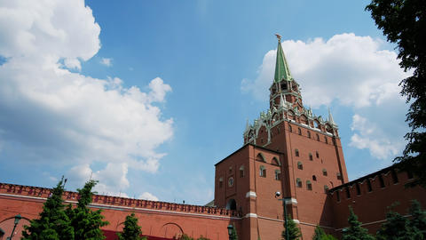 Kremlin wall on Red Square in Moscow. The symbol of the capital of Russia, on a Live Action