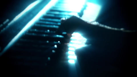 Man Playing a Particles Piano - Hands Close Up - Motion…, Stock Animation