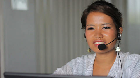 Asian Female Worker Takes Online Order Stock Video Footage