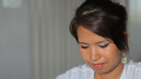 Asian Office Girl Reflecting At Work Close Up Stock Video Footage
