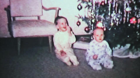 Christmas 1965 Brothers Play With Ornaments Vintage 8mm film Stock Video Footage