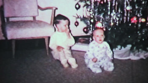 Christmas 1965 Brothers Play With Ornaments Vintage 8mm film Footage