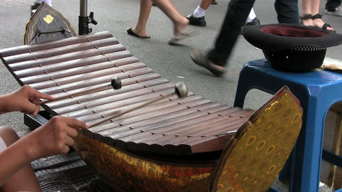 Asian Teen Playing A Wooden Xylophone Stock Video Footage