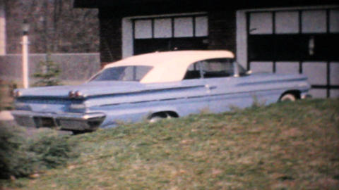 1960 Parisienne Parked In Front Of Home Vintage 8mm film Stock Video Footage