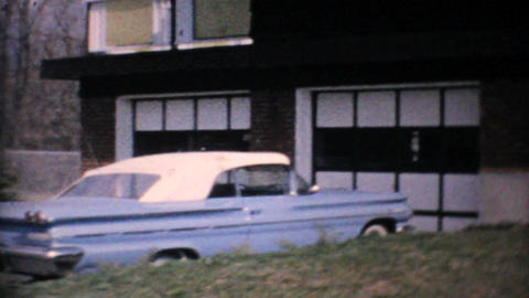 1960 Parisienne Parked In Front Of Home Vintage 8mm film Footage
