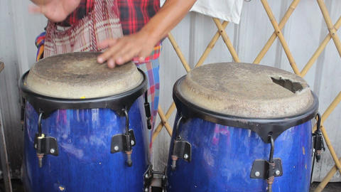 Asian Street Musician Playing Congas Stock Video Footage