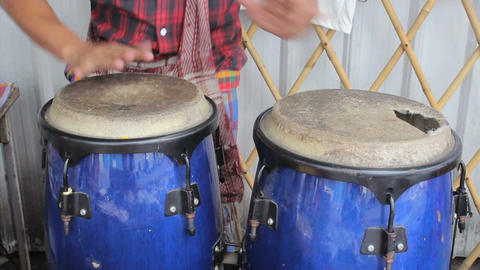 Asian Street Musician Playing Congas Footage