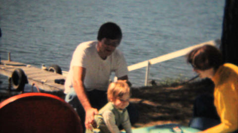 Cute Toddler By The Lake 1968 Vintage 8mm film Stock Video Footage