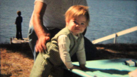 Cute Toddler By The Lake 1968 Vintage 8mm film Footage