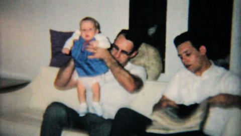 Father And Son Hang Out With Baby Girl 1965 Vintage 8mm film Footage