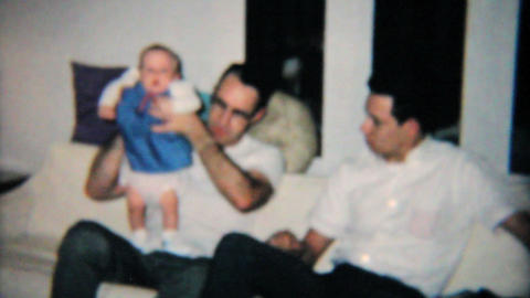 Father And Son Hang Out With Baby Girl 1965 Vintage 8mm film Stock Video Footage