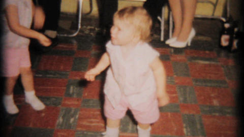 Cute 2 Year Old Toddler Dancing 1964 Vintage 8mm film Stock Video Footage