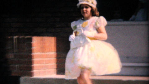 Pretty Teenage Girl In Her Easter Dress 1964 Vintage 8mm... Stock Video Footage