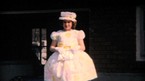 Pretty Teenage Girl In Her Easter Dress 1964 Vintage 8mm film Footage