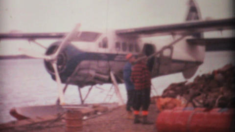 Boarding Float Planes For Arctic Hunting Trip 1969... Stock Video Footage