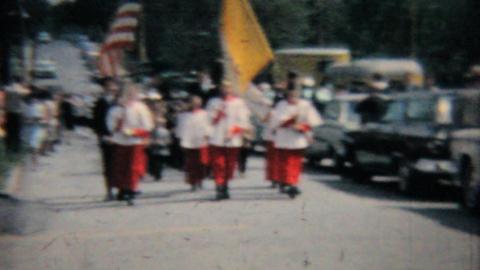 Catholic School Grad Procession 1964 Vintage 8mm film Stock Video Footage