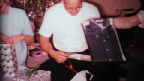 Family Opening Christmas Presents 1967 Vintage 8mm film Stock Video Footage